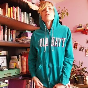 Teal // Green Old Navy Patch Logo Hoodie